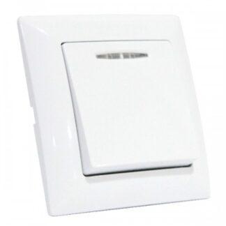 Вимикач 1-клавішний з підсвіткою білий TINA
