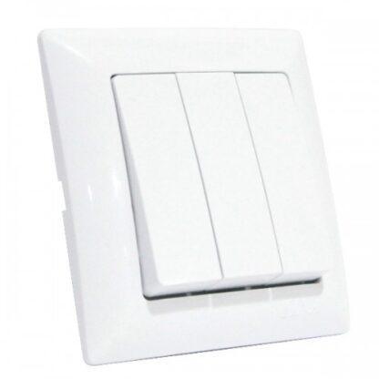 Вимикач 3-клавішний білий TINA