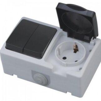 Розетка з заземленням з кришкою + вимикач двоклавішний